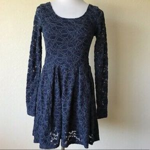 Free People long sleeve lace skater dress